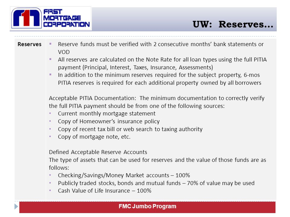 UW: Reserves… Reserves