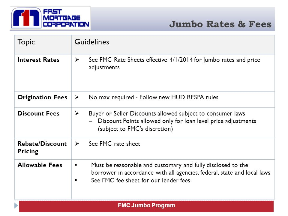 Jumbo Rates & Fees Topic Guidelines Interest Rates