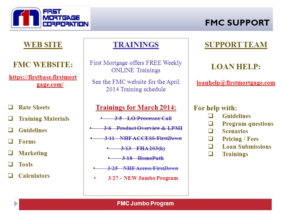FMC SUPPORT WEB SITE FMC WEBSITE: TRAININGS SUPPORT TEAM LOAN HELP: