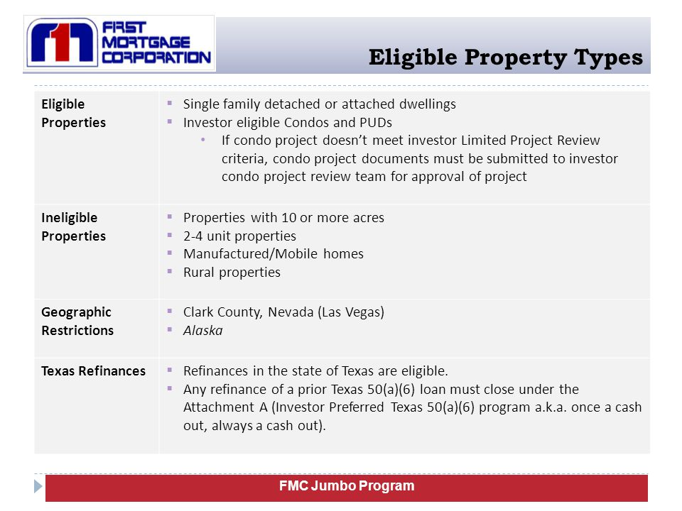Eligible Property Types