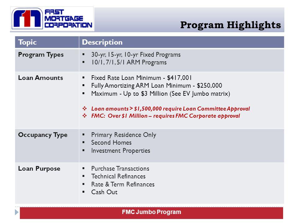 Program Highlights Topic Description Program Types