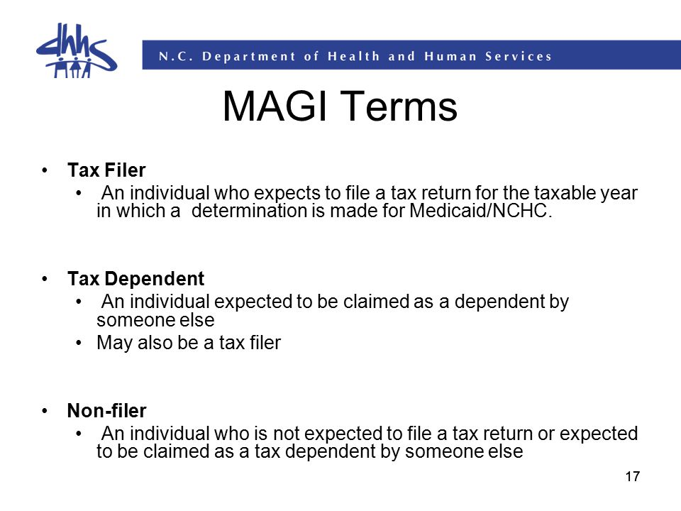 MAGI Terms Tax Filer. An individual who expects to file a tax return for the taxable year in which a determination is made for Medicaid/NCHC.