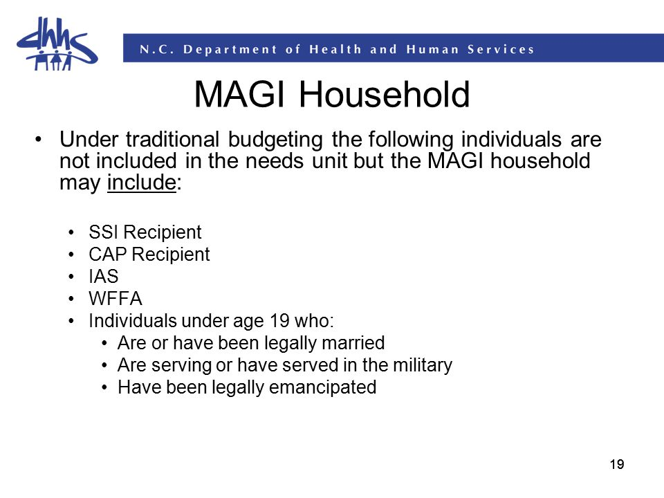 MAGI Household Under traditional budgeting the following individuals are not included in the needs unit but the MAGI household may include: