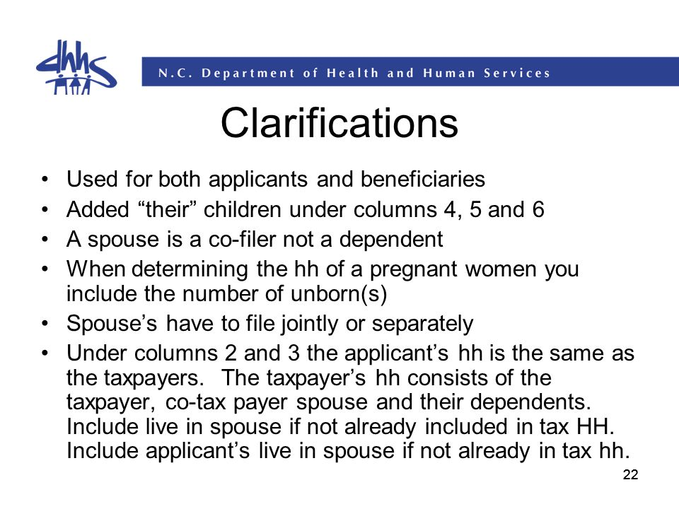 Clarifications Used for both applicants and beneficiaries