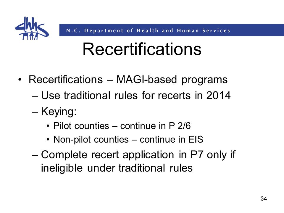 Recertifications Recertifications – MAGI-based programs