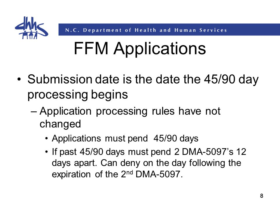 FFM Applications Submission date is the date the 45/90 day processing begins. Application processing rules have not changed.