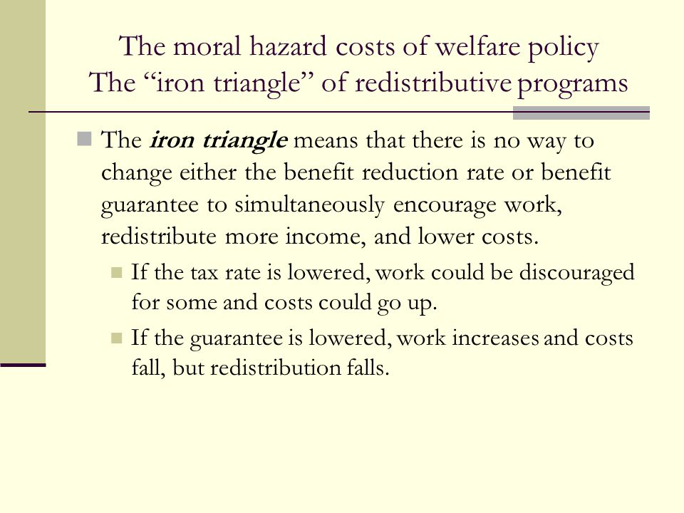 The moral hazard costs of welfare policy The iron triangle of redistributive programs