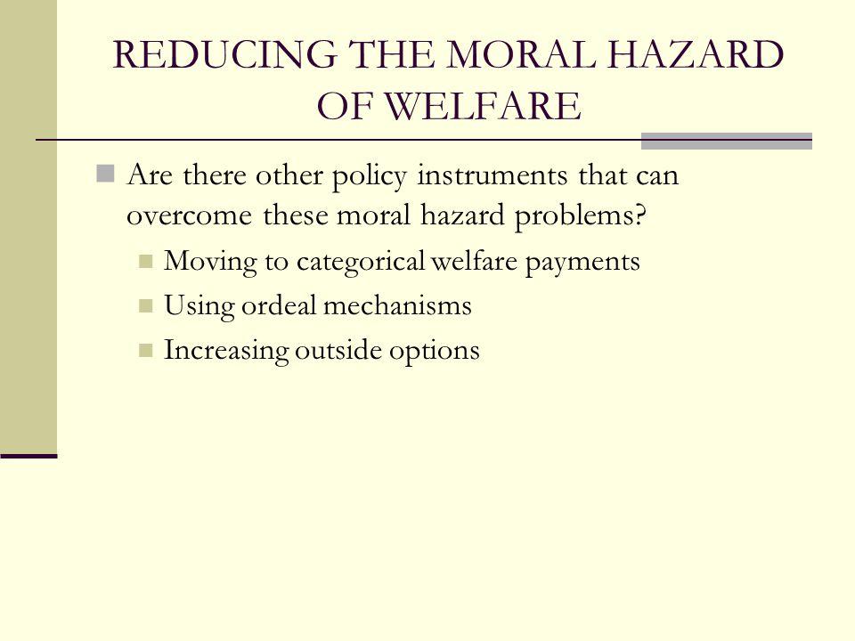 REDUCING THE MORAL HAZARD OF WELFARE