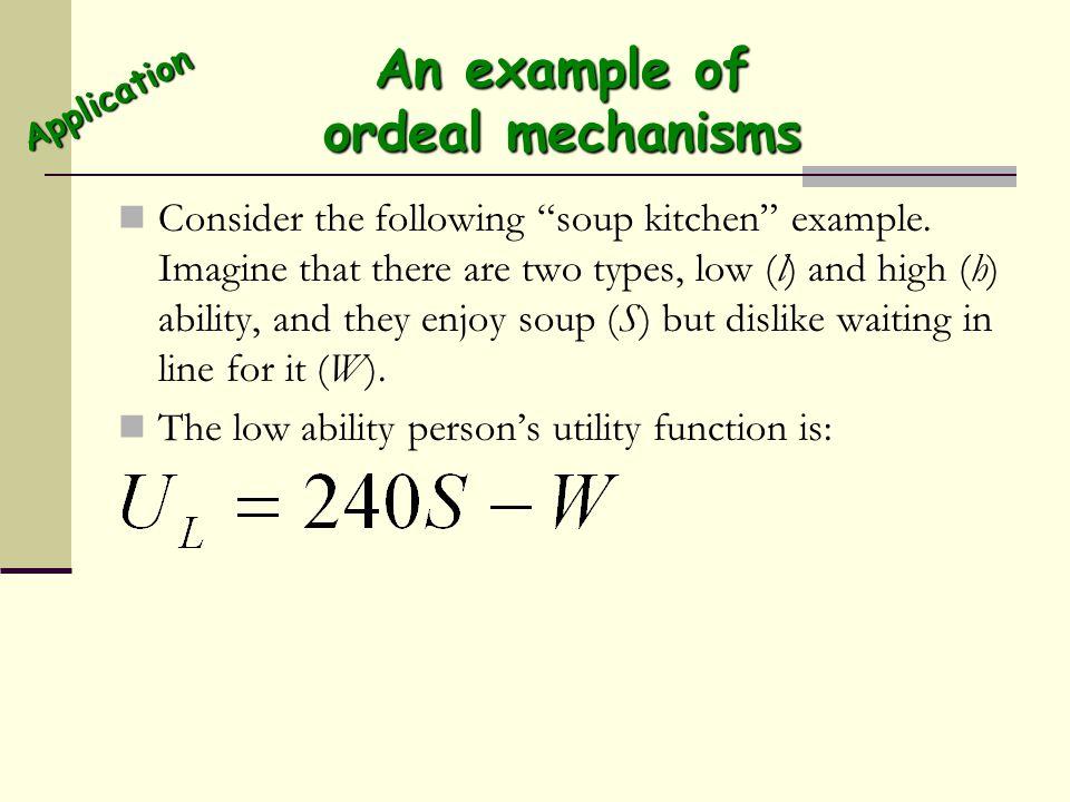 An example of ordeal mechanisms