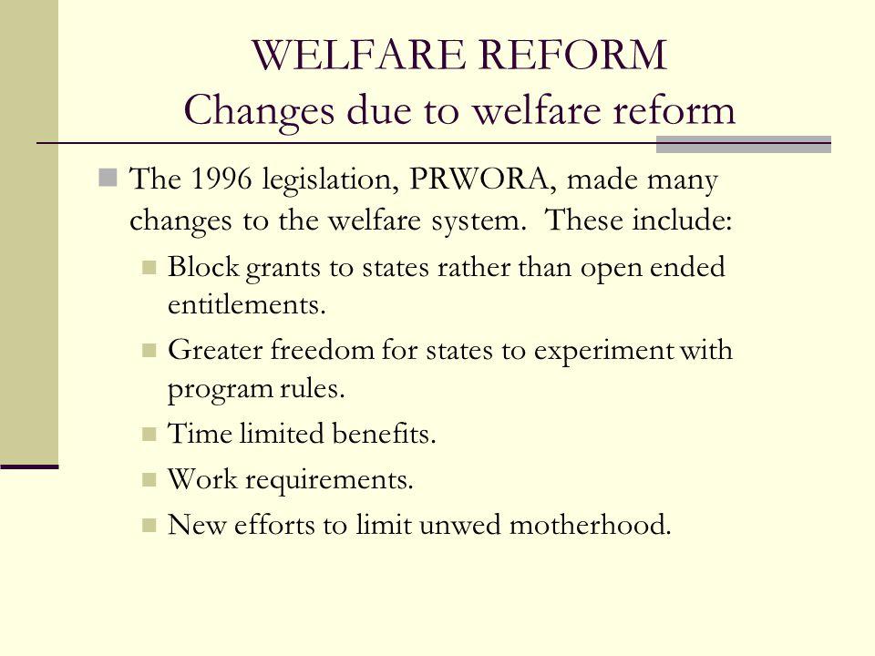 WELFARE REFORM Changes due to welfare reform