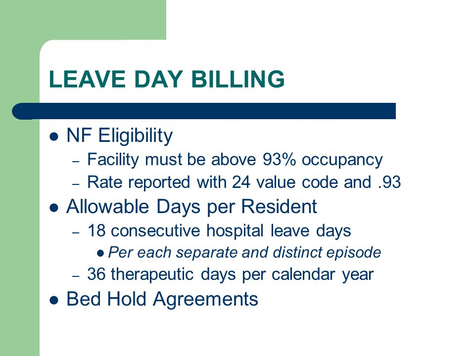 LEAVE DAY BILLING NF Eligibility Allowable Days per Resident