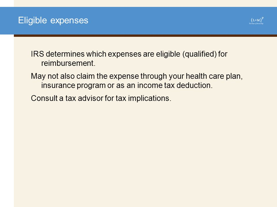 Eligible expenses: examples