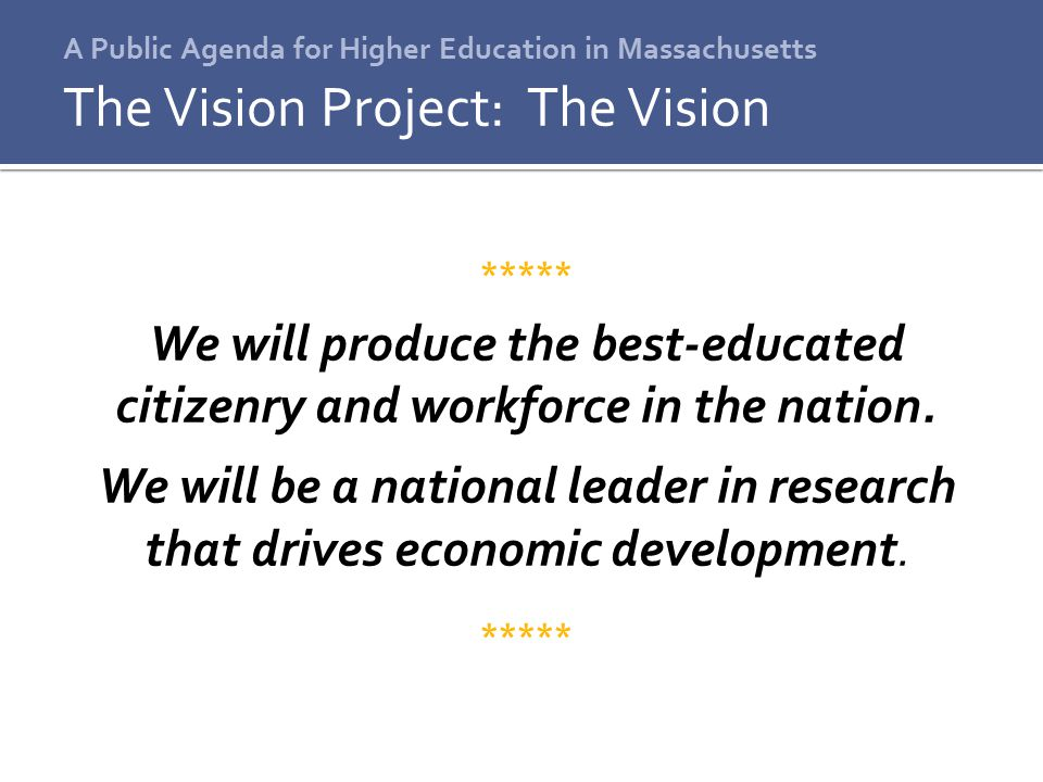 A Public Agenda for Higher Education in Massachusetts