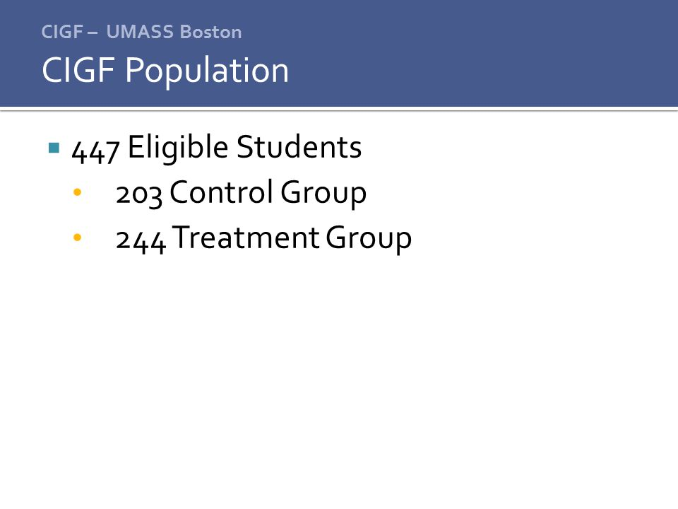 CIGF Population 447 Eligible Students 203 Control Group