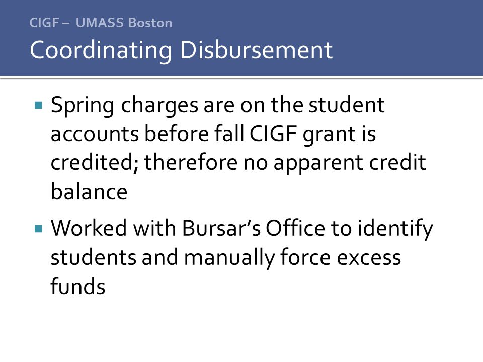Coordinating Disbursement