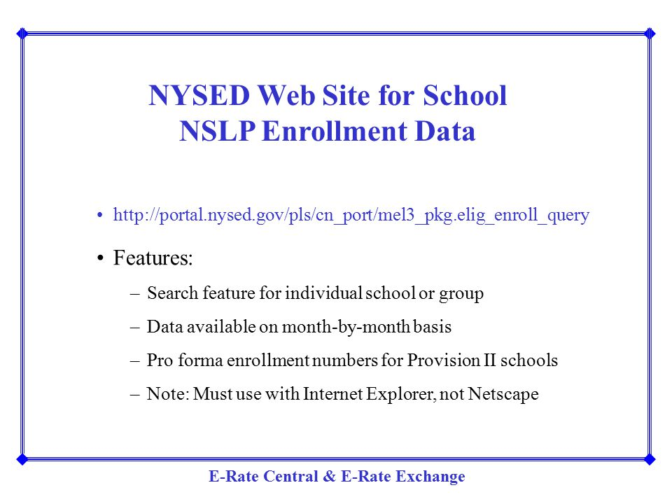 NYSED Web Site for School NSLP Enrollment Data