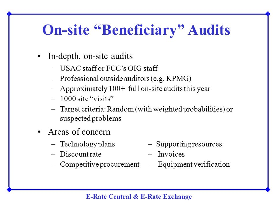 On-site Beneficiary Audits