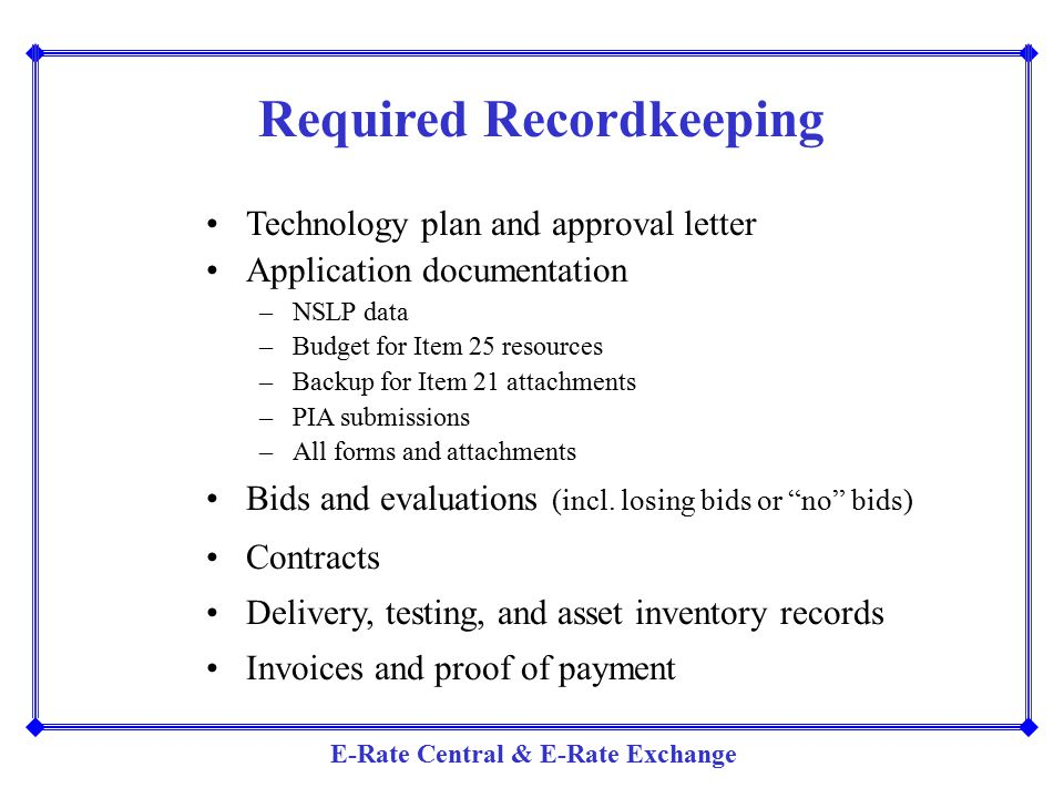 Required Recordkeeping