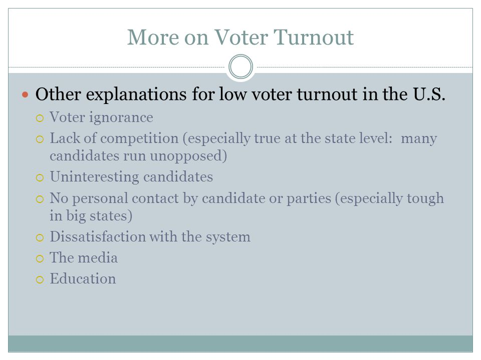 More on Voter Turnout Other explanations for low voter turnout in the U.S. Voter ignorance.