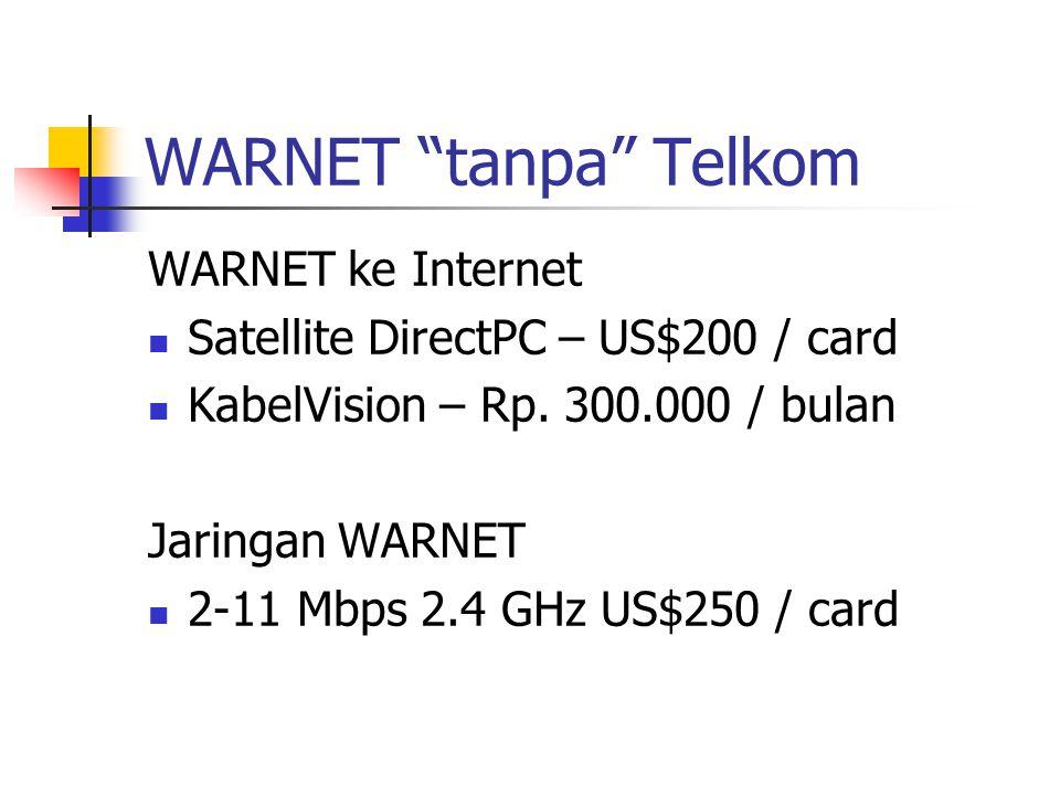 WARNET tanpa Telkom WARNET ke Internet