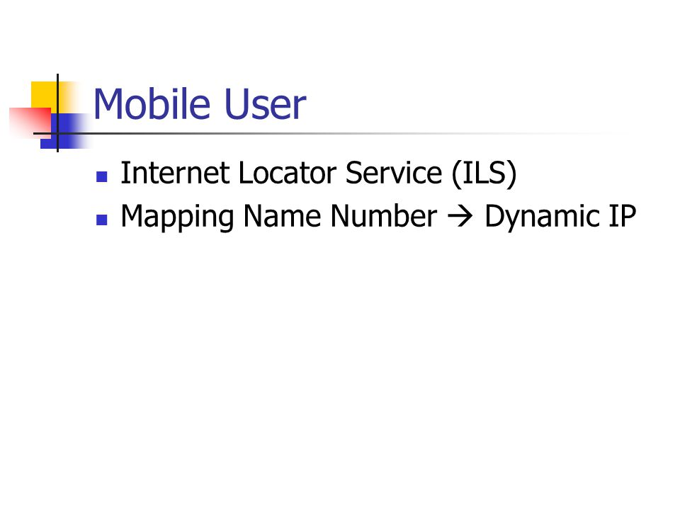 Mobile User Internet Locator Service (ILS)