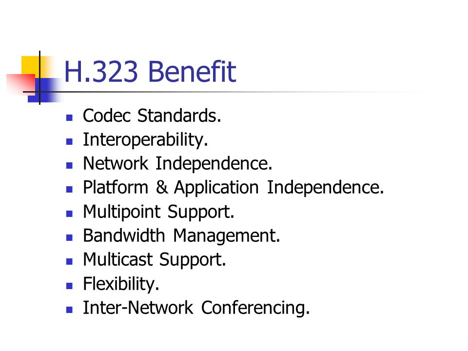 H.323 Benefit Codec Standards. Interoperability. Network Independence.
