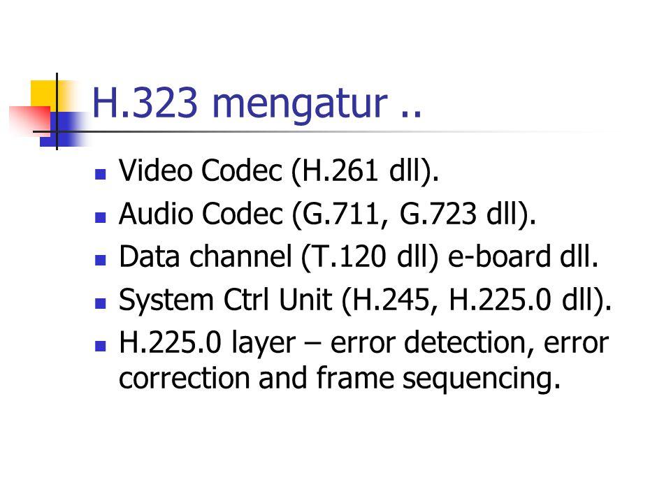 H.323 mengatur .. Video Codec (H.261 dll).