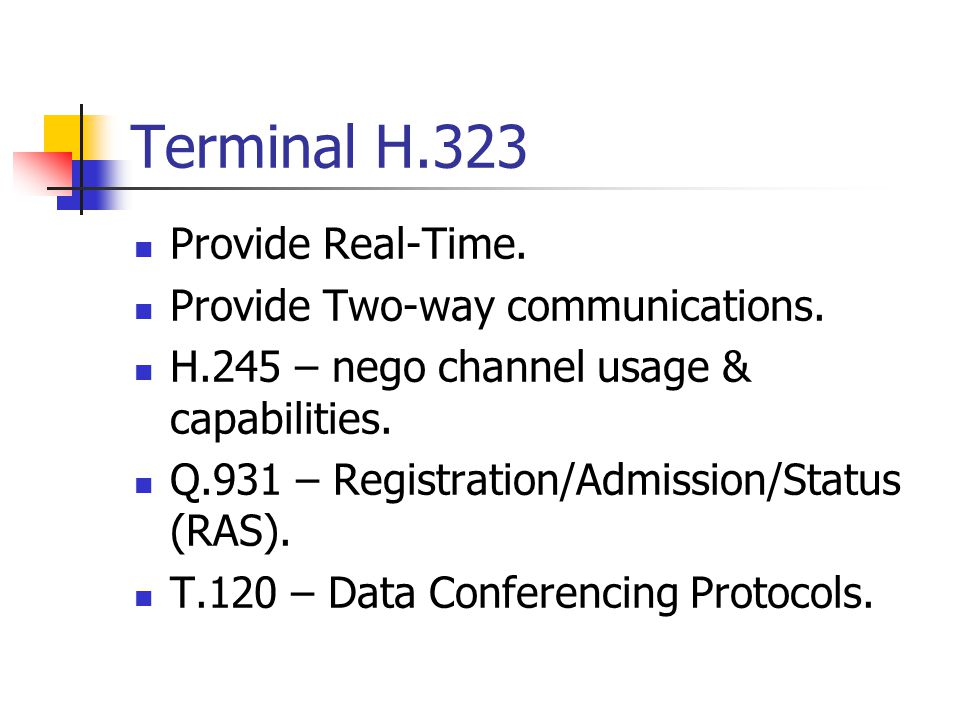 Terminal H.323 Provide Real-Time. Provide Two-way communications.