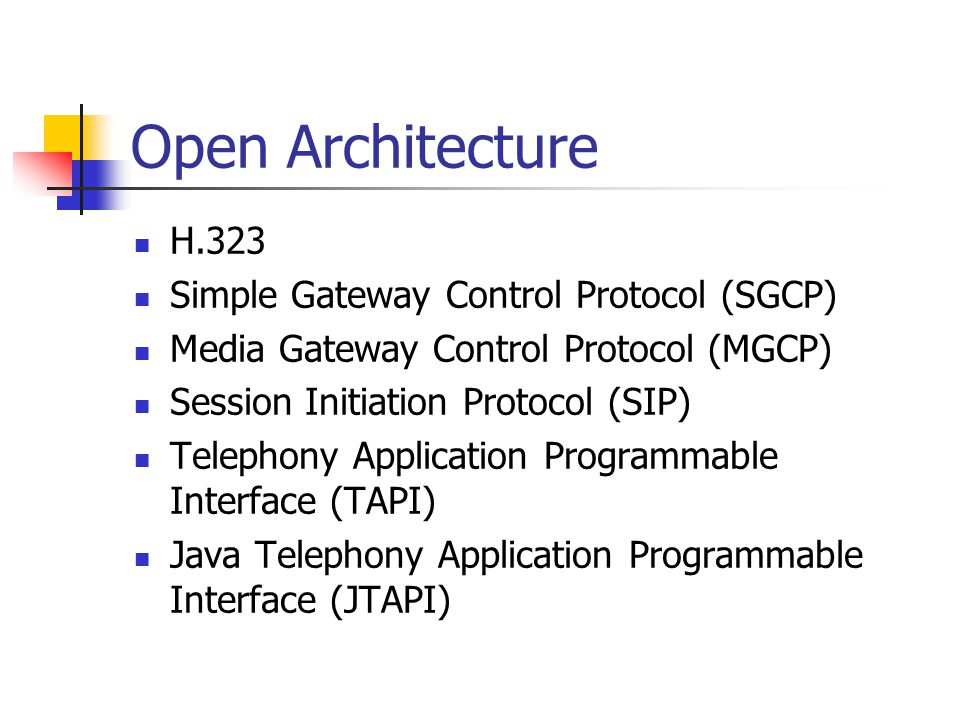 Open Architecture H.323 Simple Gateway Control Protocol (SGCP)