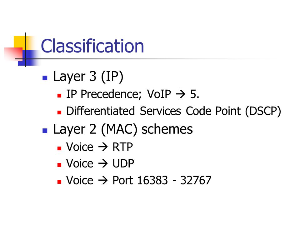 Classification Layer 3 (IP) Layer 2 (MAC) schemes