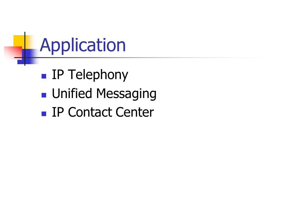 Application IP Telephony Unified Messaging IP Contact Center