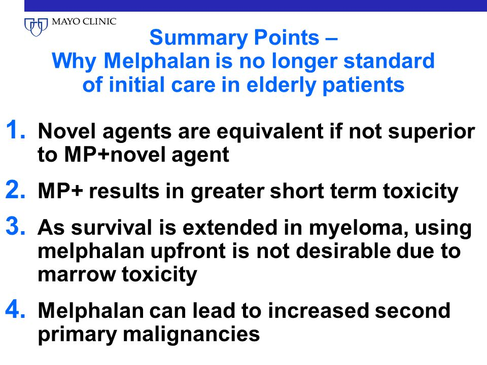 Summary Points – Why Melphalan is no longer standard of initial care in elderly patients