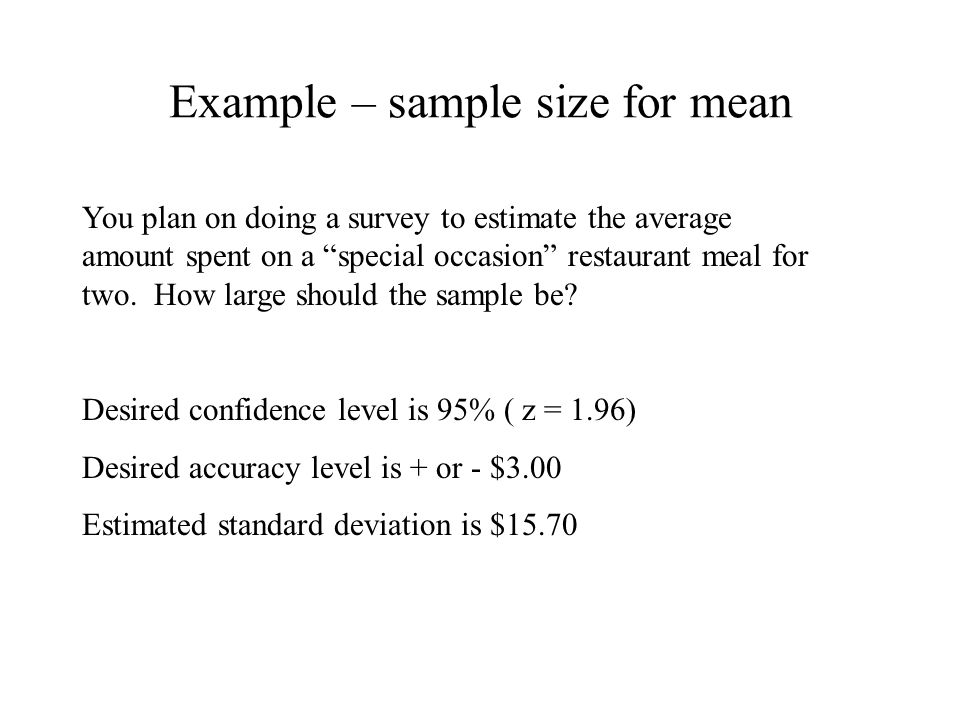 Example – sample size for mean