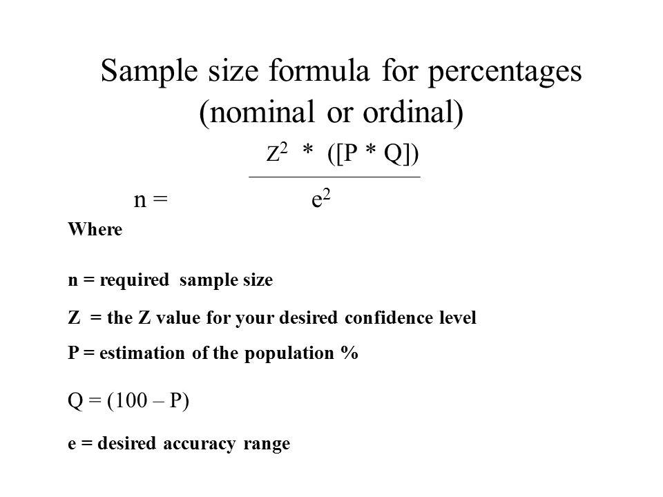 Sample size formula for percentages (nominal or ordinal)
