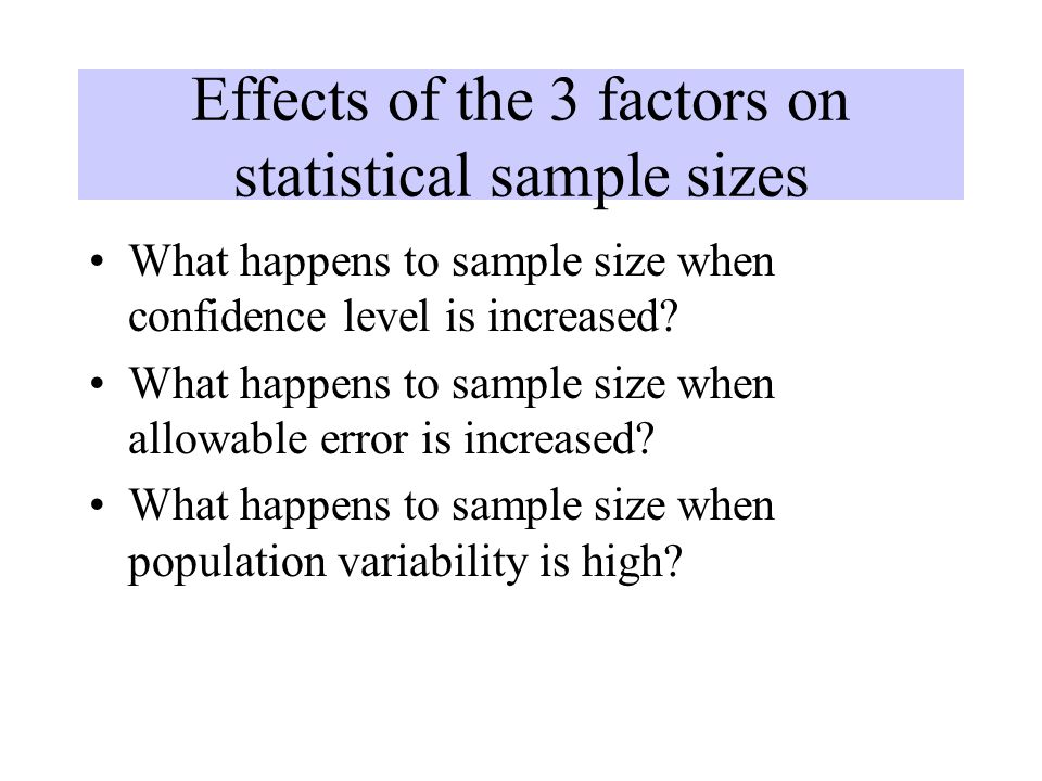 Effects of the 3 factors on statistical sample sizes
