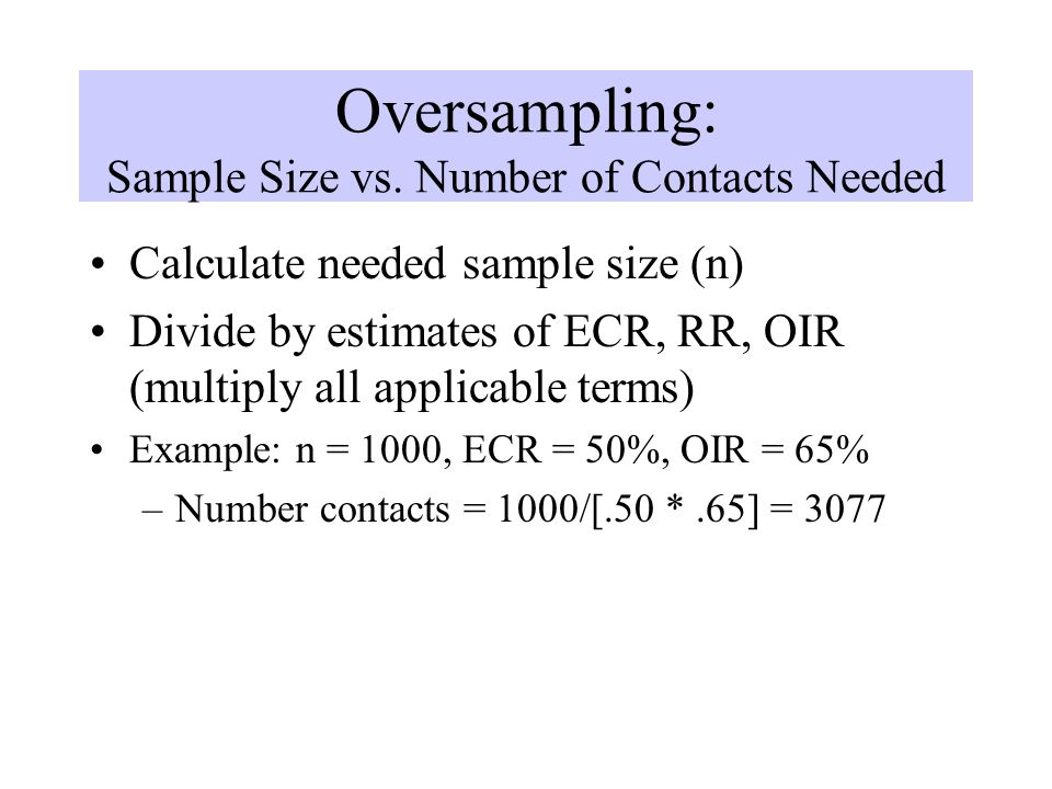 Oversampling: Sample Size vs. Number of Contacts Needed