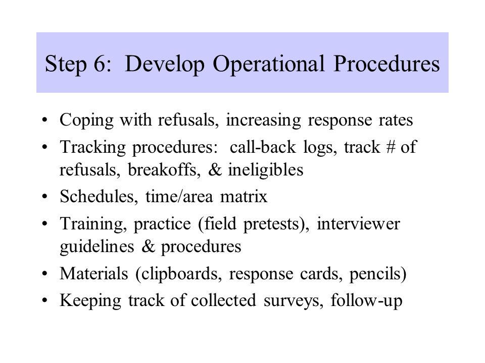 Step 6: Develop Operational Procedures