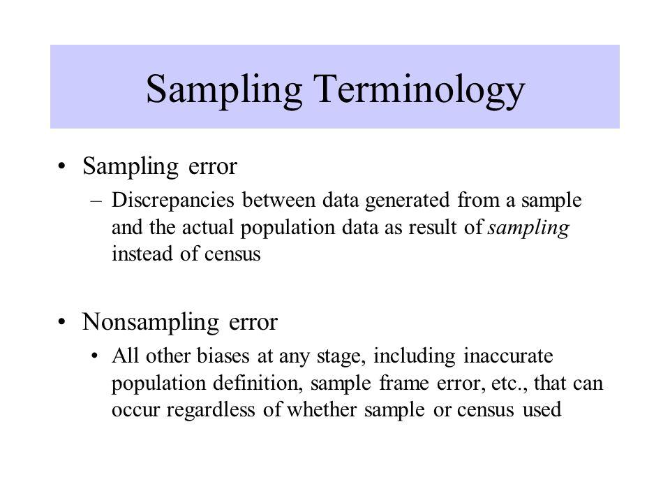 Sampling Terminology Sampling error Nonsampling error