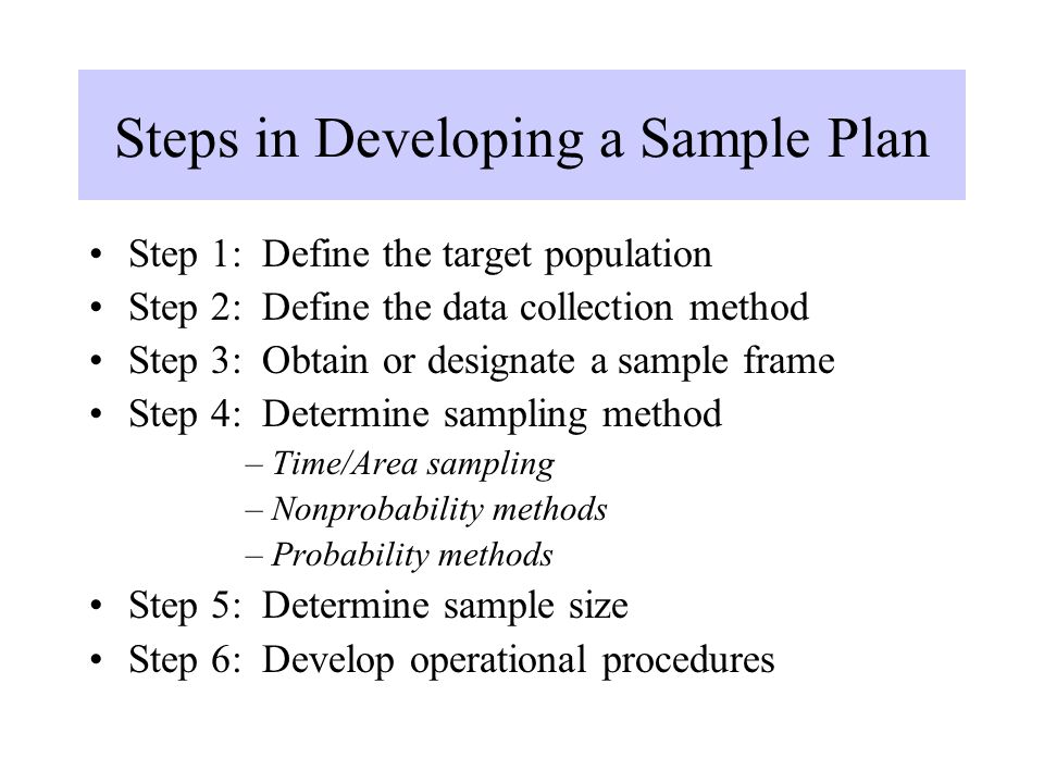 Steps in Developing a Sample Plan