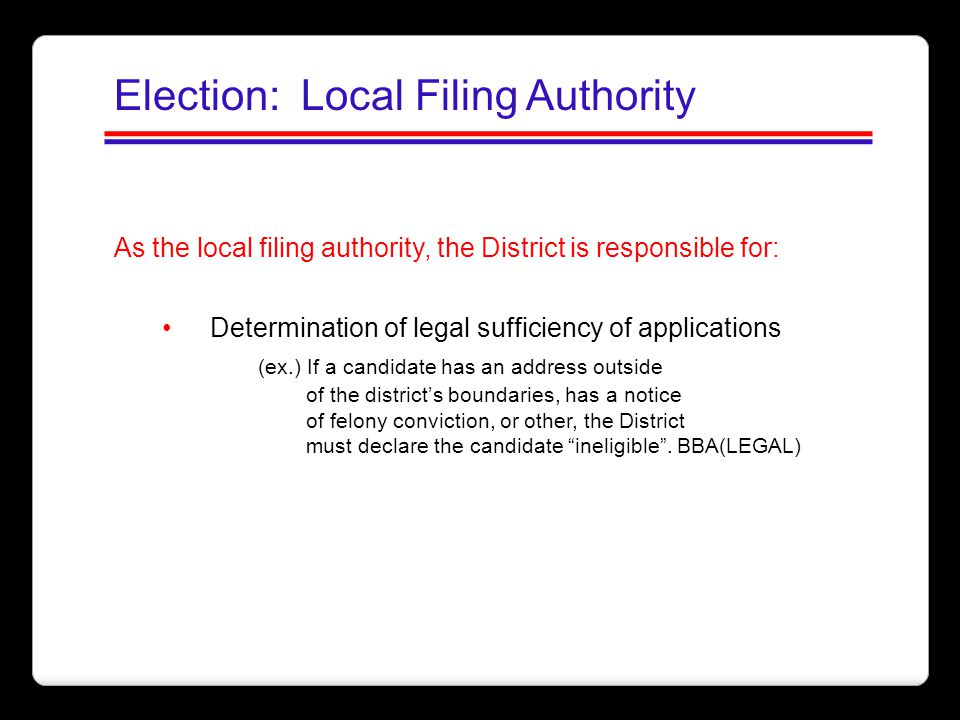 Election: Local Filing Authority