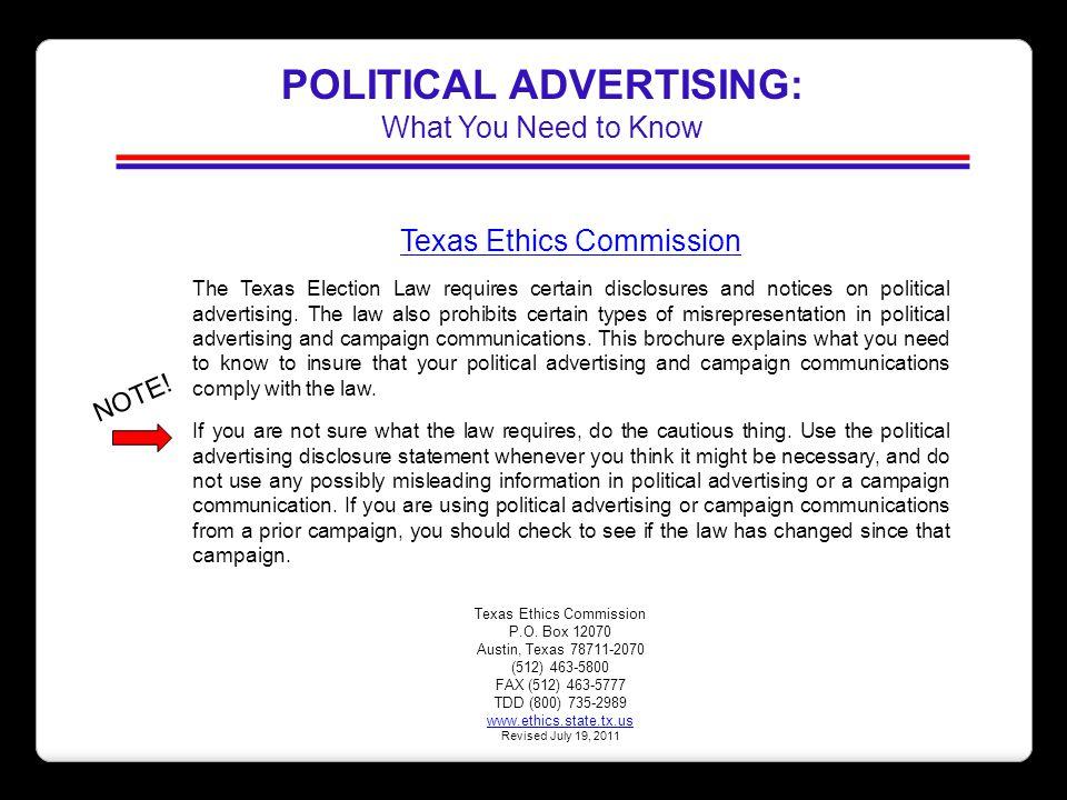 POLITICAL ADVERTISING:
