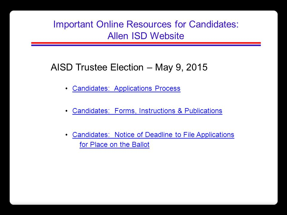 Important Online Resources for Candidates: