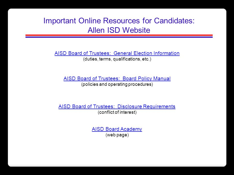 Important Online Resources for Candidates: Allen ISD Website