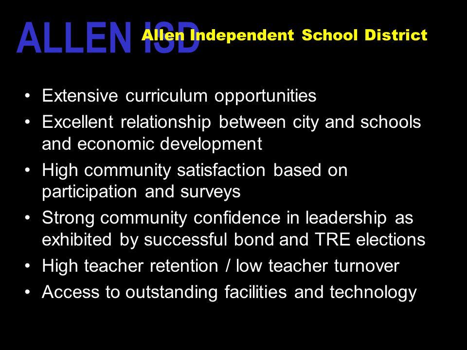 ALLEN ISD The Allen Way Extensive curriculum opportunities