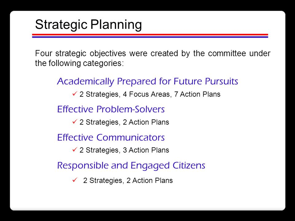 Strategic Planning Academically Prepared for Future Pursuits