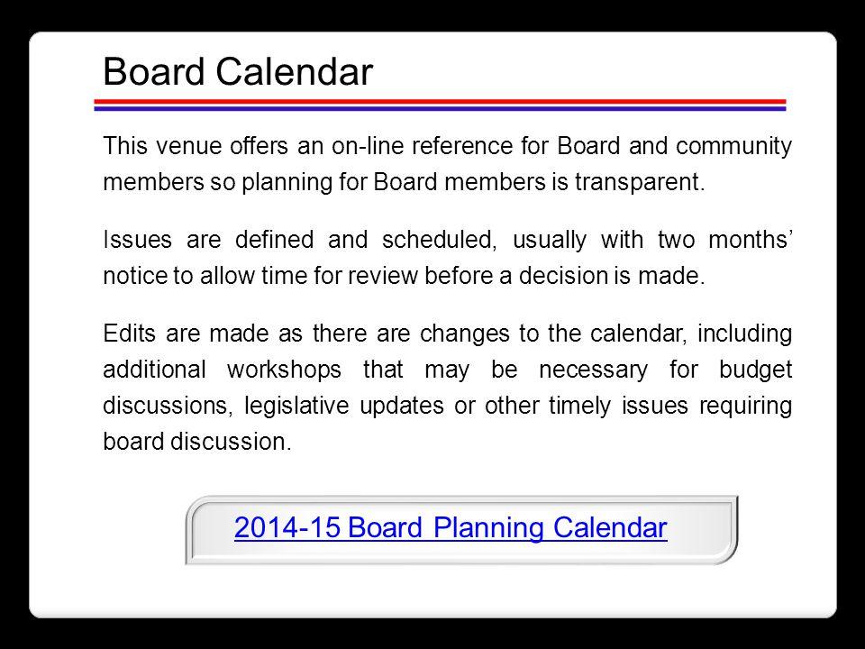 2014-15 Board Planning Calendar
