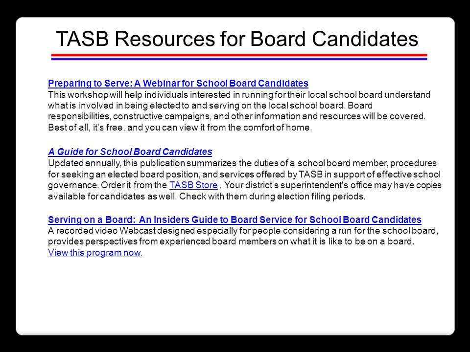 TASB Resources for Board Candidates