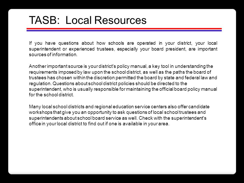 TASB: Local Resources