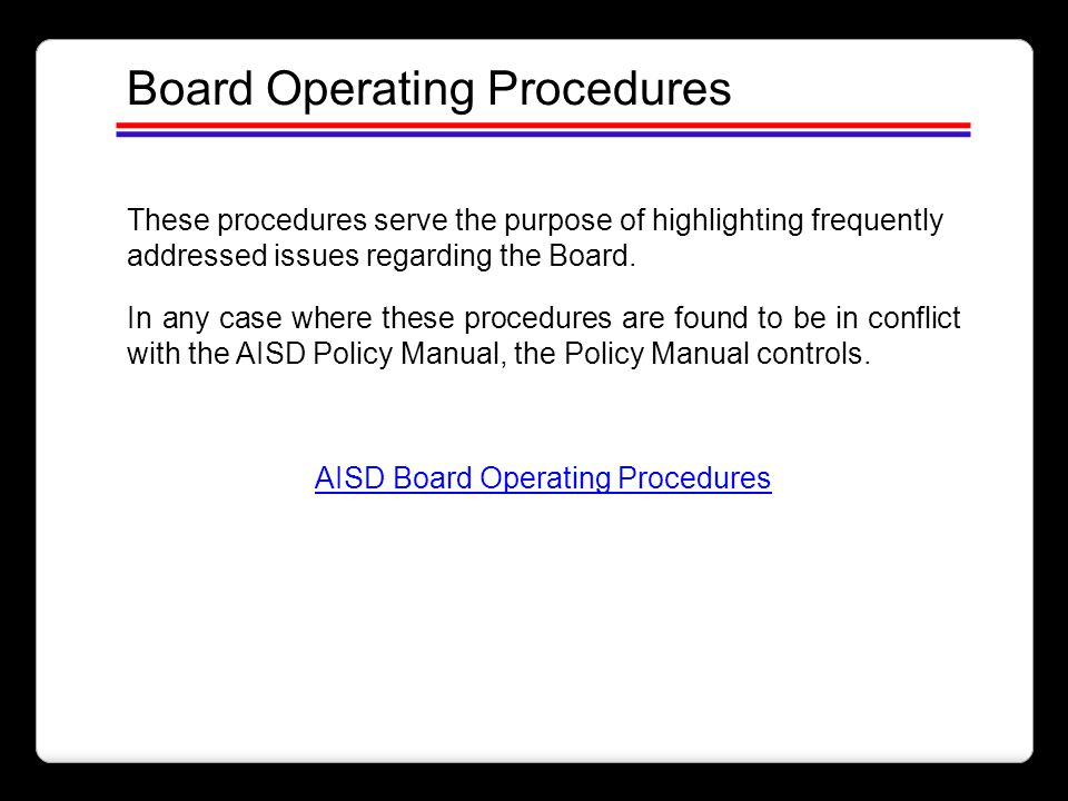 AISD Board Operating Procedures