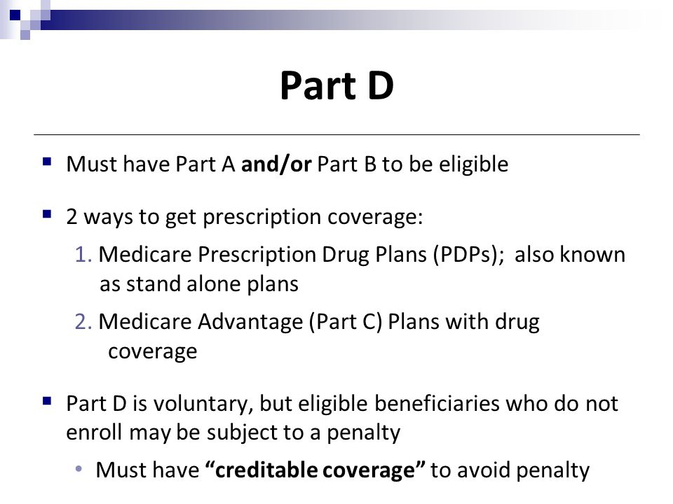 Part D Must have Part A and/or Part B to be eligible